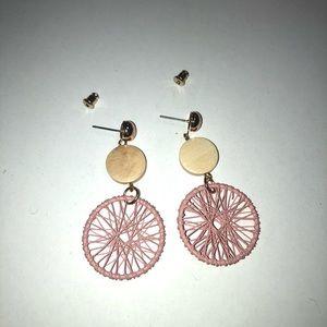Pink Knit Design Earring w/ Gold Details